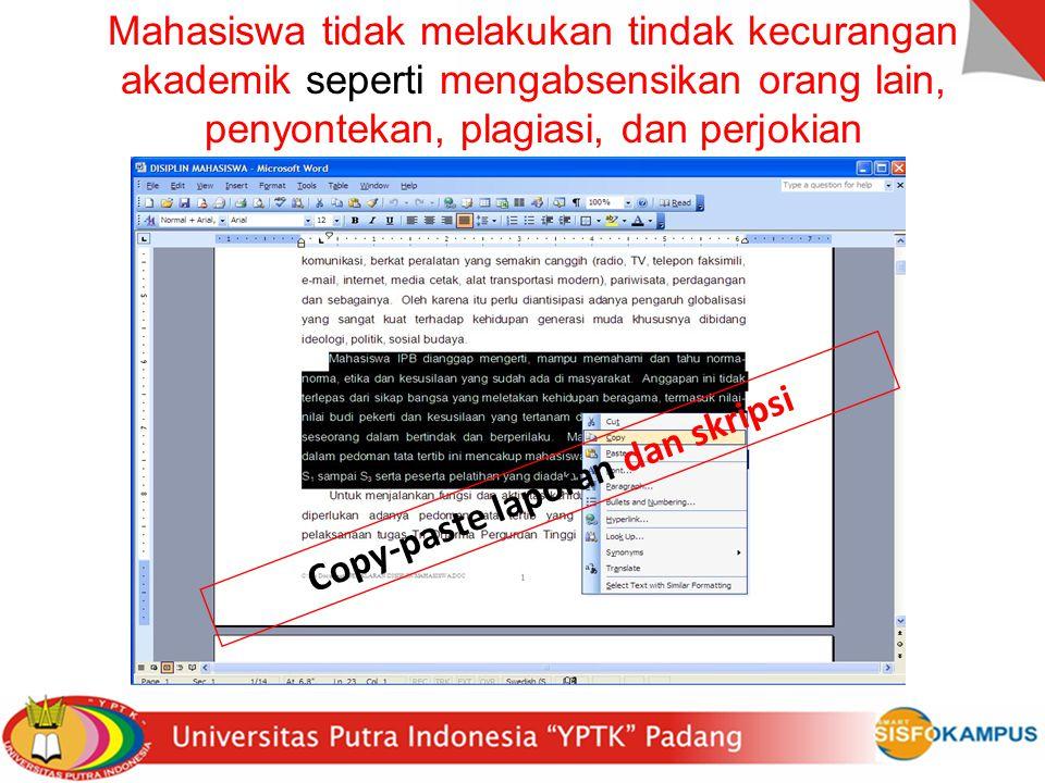 Copy-paste laporan dan skripsi