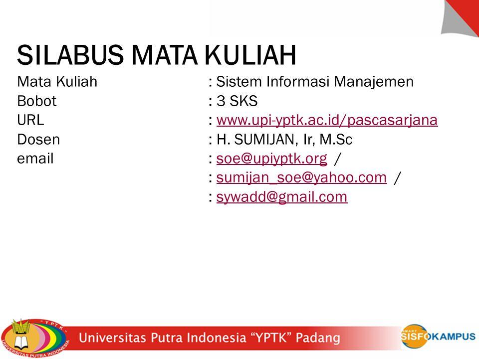 SILABUS MATA KULIAH Mata Kuliah : Sistem Informasi Manajemen