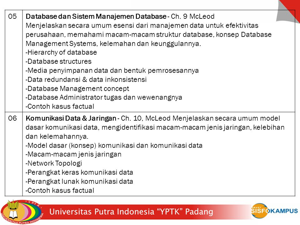 05 Database dan Sistem Manajemen Database - Ch. 9 McLeod.