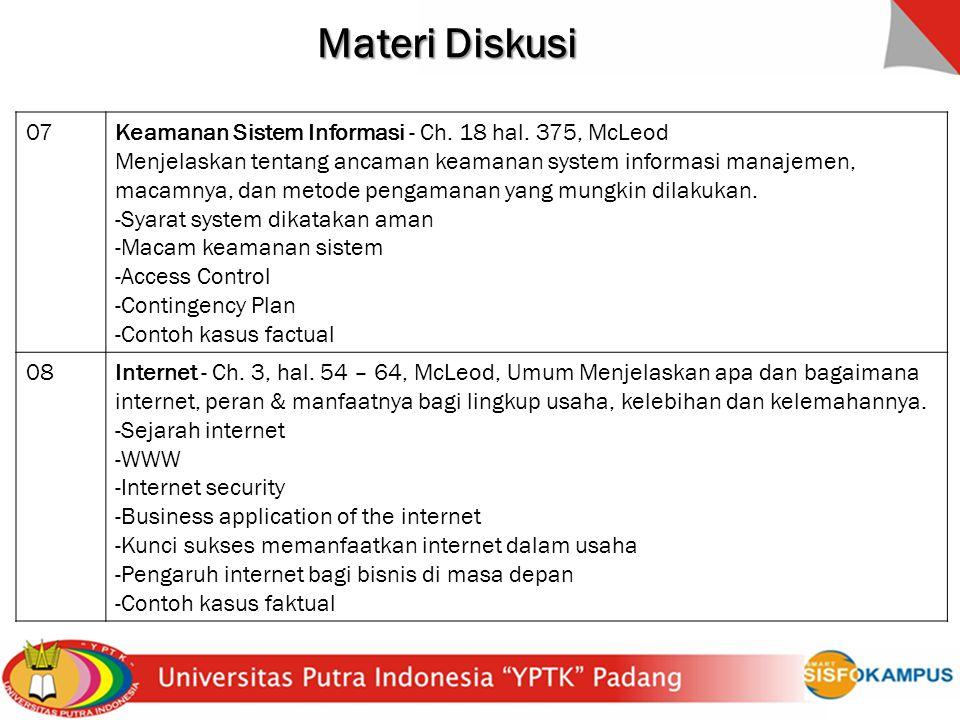 Materi Diskusi 07 Keamanan Sistem Informasi - Ch. 18 hal. 375, McLeod