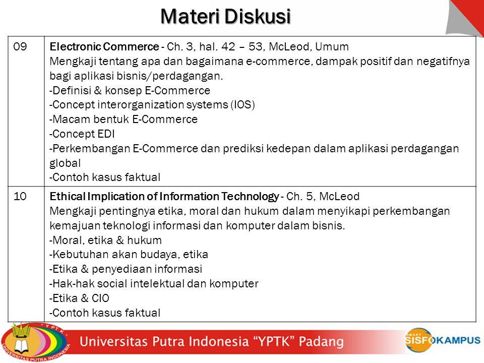 Materi Diskusi 09. Electronic Commerce - Ch. 3, hal. 42 – 53, McLeod, Umum.