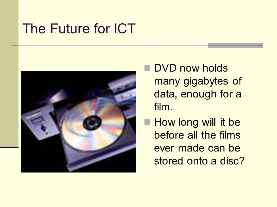 The Future for ICT DVD now holds many gigabytes of data, enough for a film.