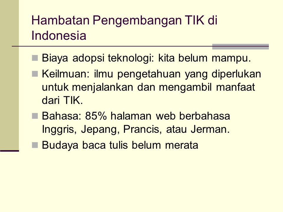 Hambatan Pengembangan TIK di Indonesia