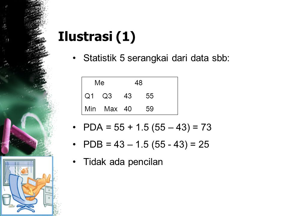 Ilustrasi (1) Statistik 5 serangkai dari data sbb: