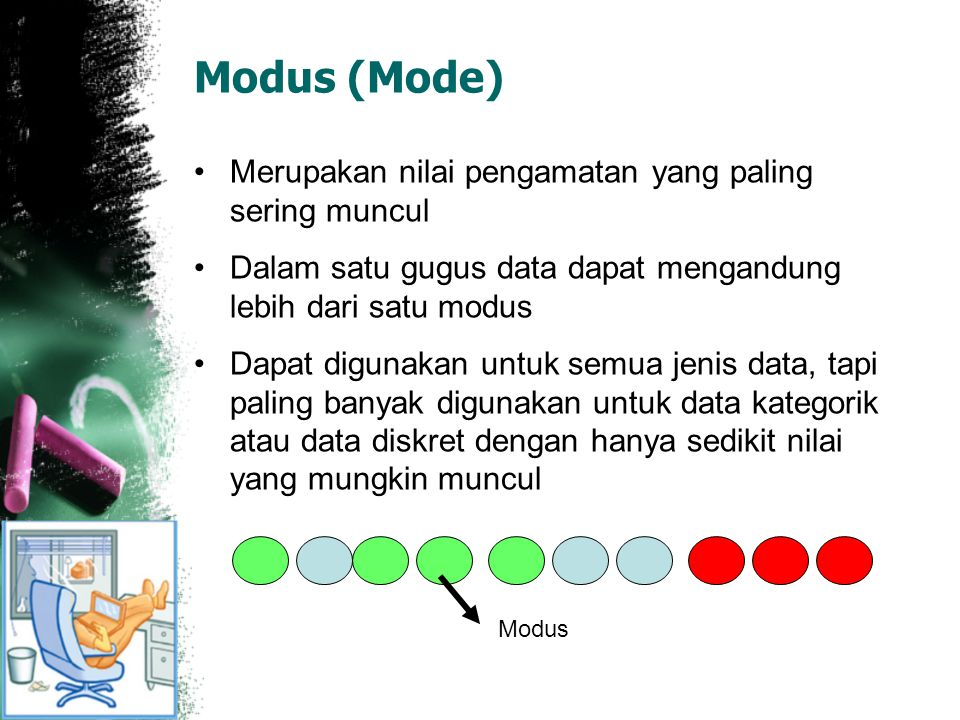 Modus (Mode) Merupakan nilai pengamatan yang paling sering muncul