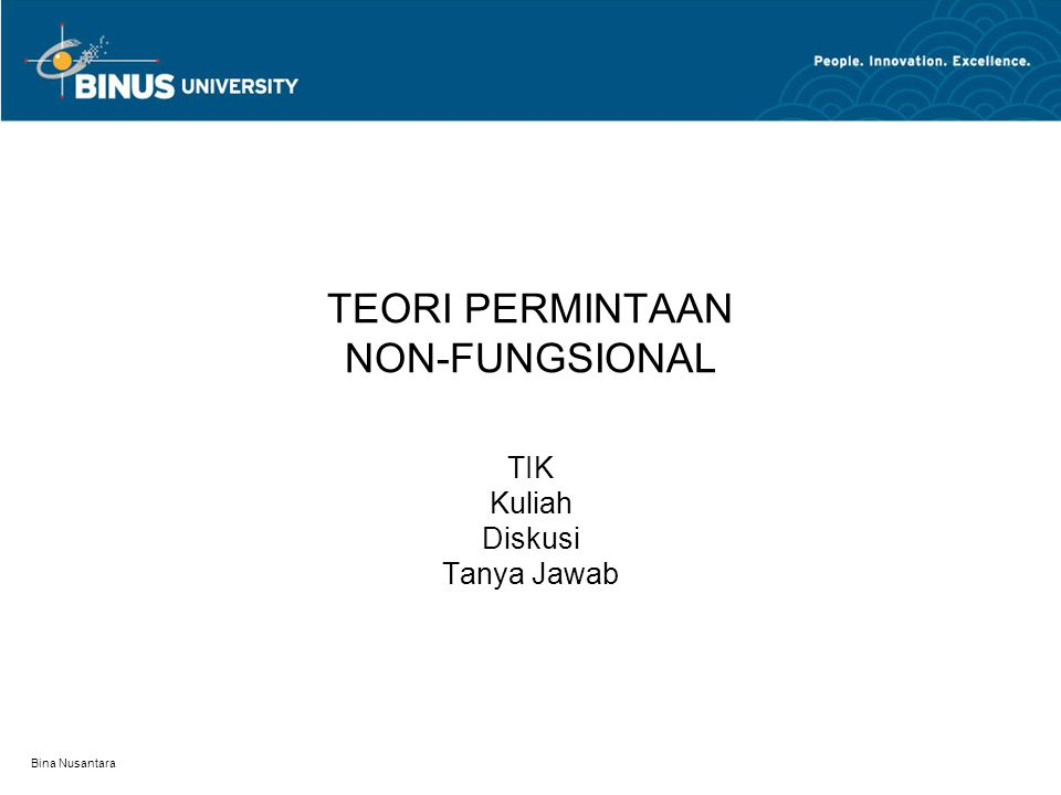 TEORI PERMINTAAN NON-FUNGSIONAL