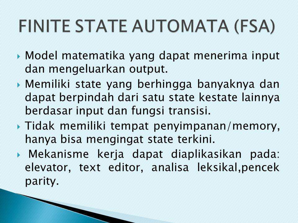 FINITE STATE AUTOMATA (FSA)