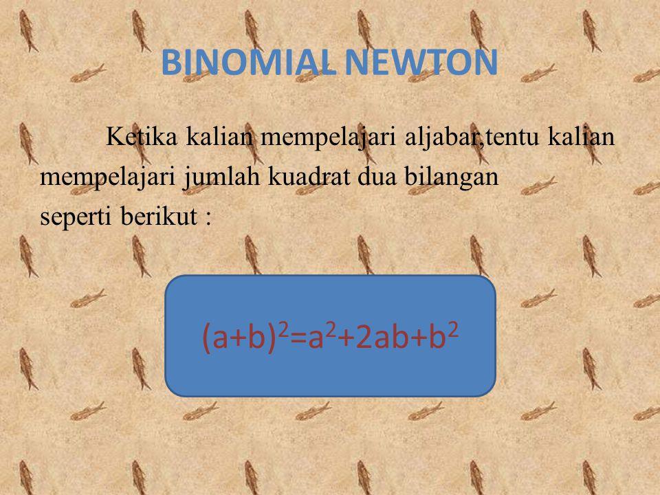 BINOMIAL NEWTON (a+b)2=a2+2ab+b2