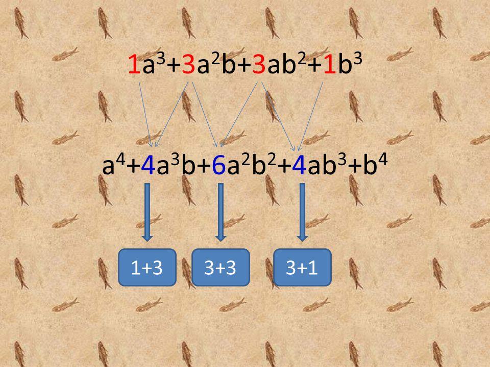 1a3+3a2b+3ab2+1b3 a4+4a3b+6a2b2+4ab3+b4