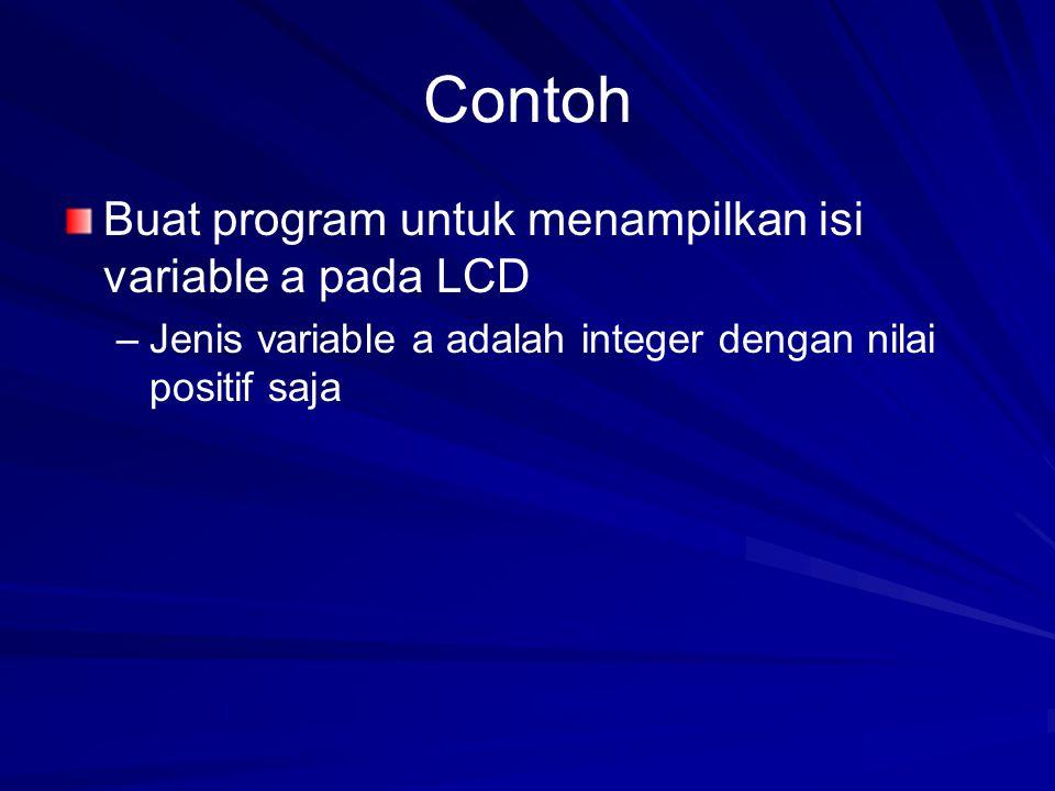 Contoh Buat program untuk menampilkan isi variable a pada LCD