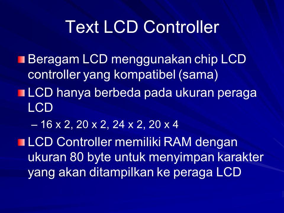 Text LCD Controller Beragam LCD menggunakan chip LCD controller yang kompatibel (sama) LCD hanya berbeda pada ukuran peraga LCD.