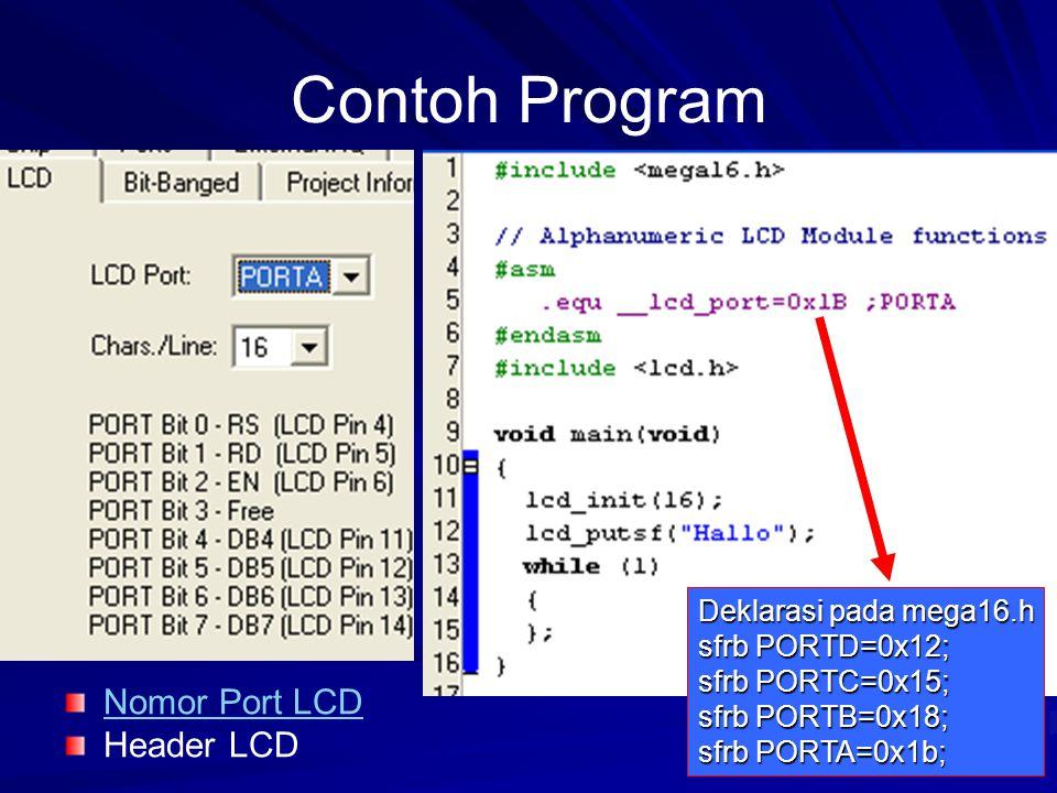 Contoh Program Nomor Port LCD Header LCD Deklarasi pada mega16.h