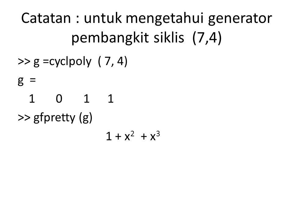 Catatan : untuk mengetahui generator pembangkit siklis (7,4)