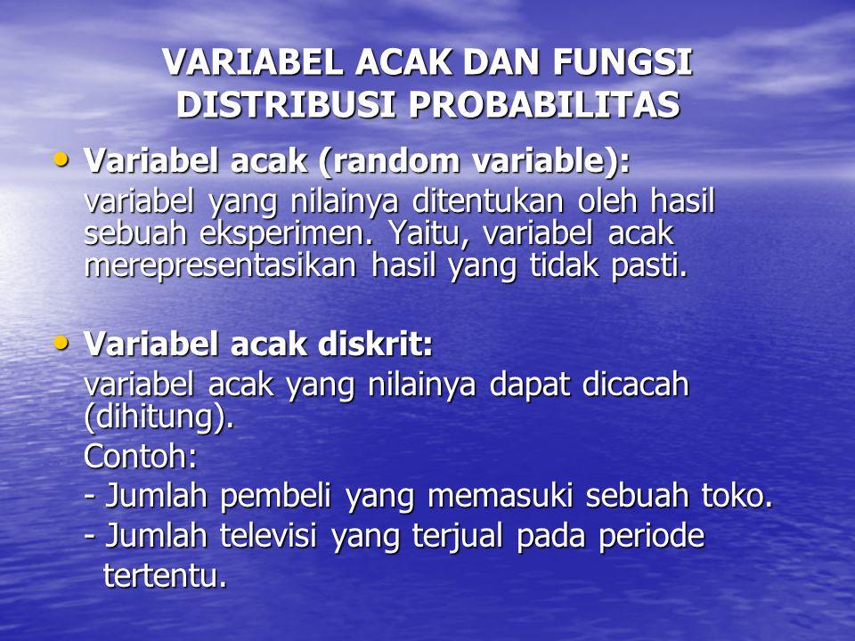 VARIABEL ACAK DAN FUNGSI DISTRIBUSI PROBABILITAS