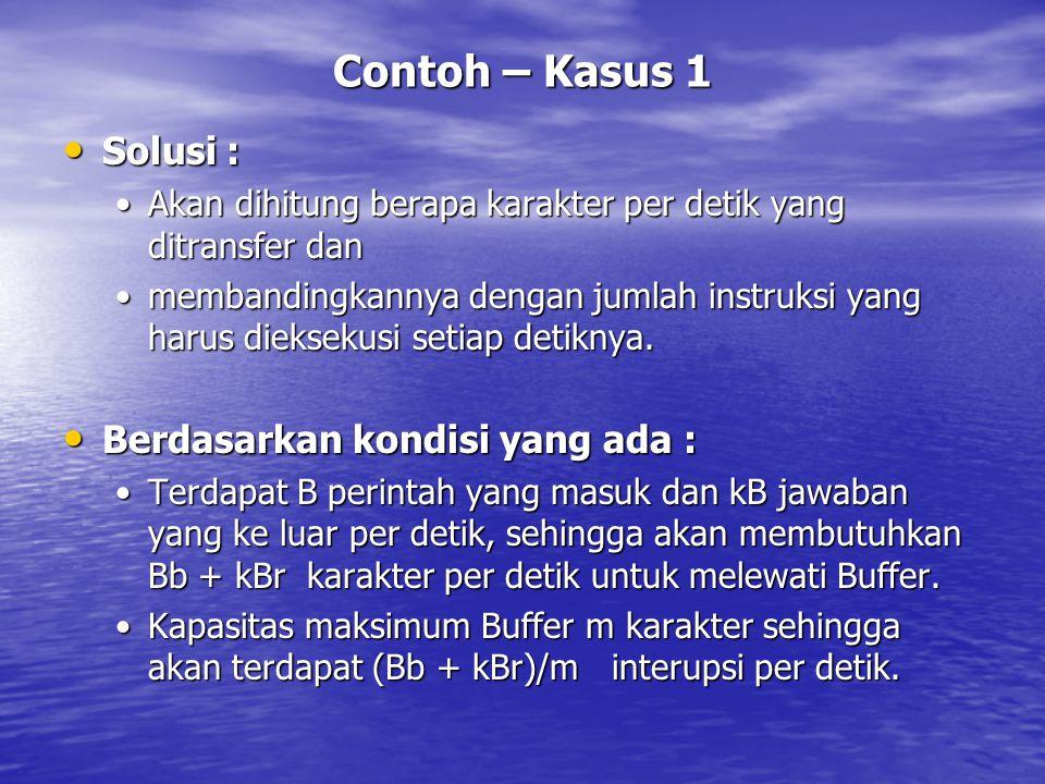 Contoh – Kasus 1 Solusi : Berdasarkan kondisi yang ada :
