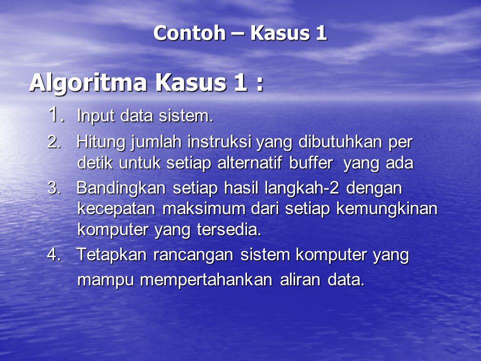 Algoritma Kasus 1 : 1. Input data sistem. Contoh – Kasus 1