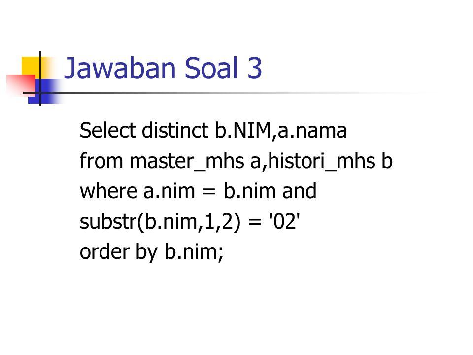 Jawaban Soal 3 Select distinct b.NIM,a.nama