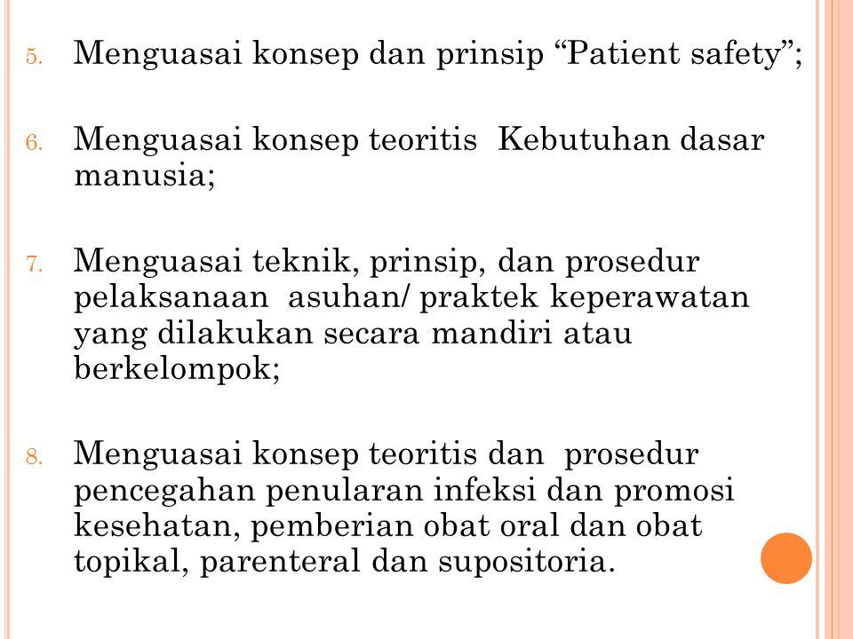 Menguasai konsep dan prinsip Patient safety ;
