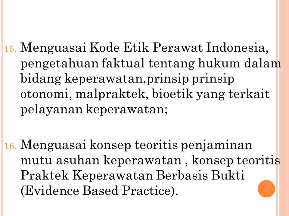 Menguasai Kode Etik Perawat Indonesia, pengetahuan faktual tentang hukum dalam bidang keperawatan,prinsip prinsip otonomi, malpraktek, bioetik yang terkait pelayanan keperawatan;