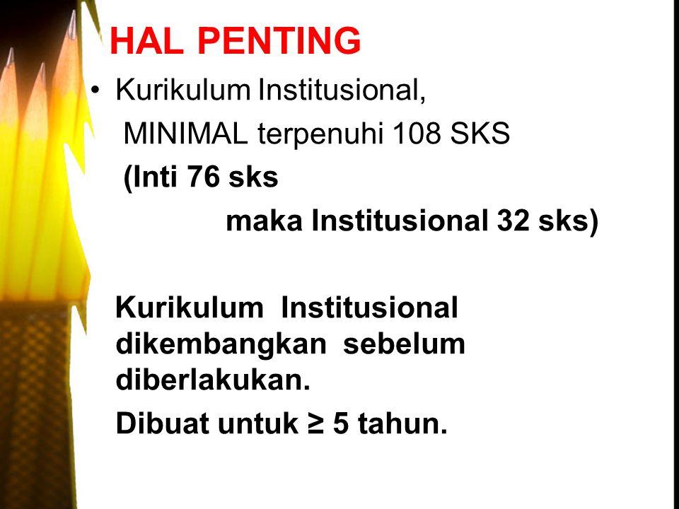 HAL PENTING Kurikulum Institusional, MINIMAL terpenuhi 108 SKS