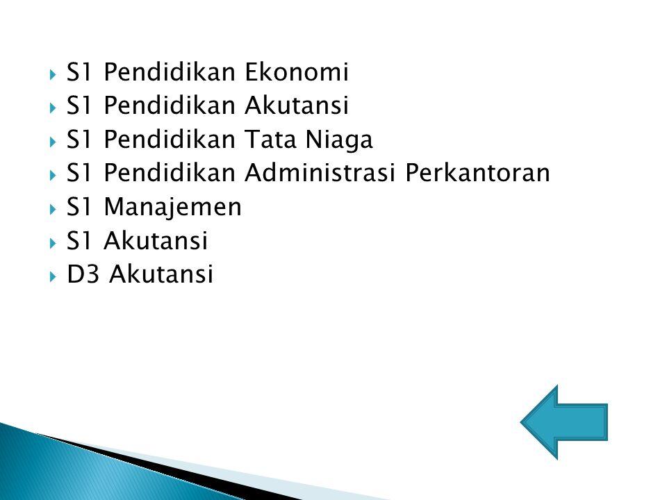 S1 Pendidikan Ekonomi S1 Pendidikan Akutansi. S1 Pendidikan Tata Niaga. S1 Pendidikan Administrasi Perkantoran.
