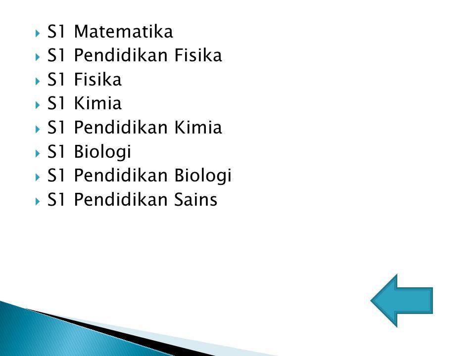 S1 Matematika S1 Pendidikan Fisika. S1 Fisika. S1 Kimia. S1 Pendidikan Kimia. S1 Biologi. S1 Pendidikan Biologi.