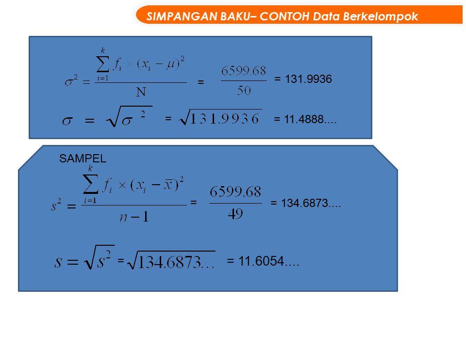 = 11.6054.... SIMPANGAN BAKU– CONTOH Data Berkelompok = 131.9936 = =