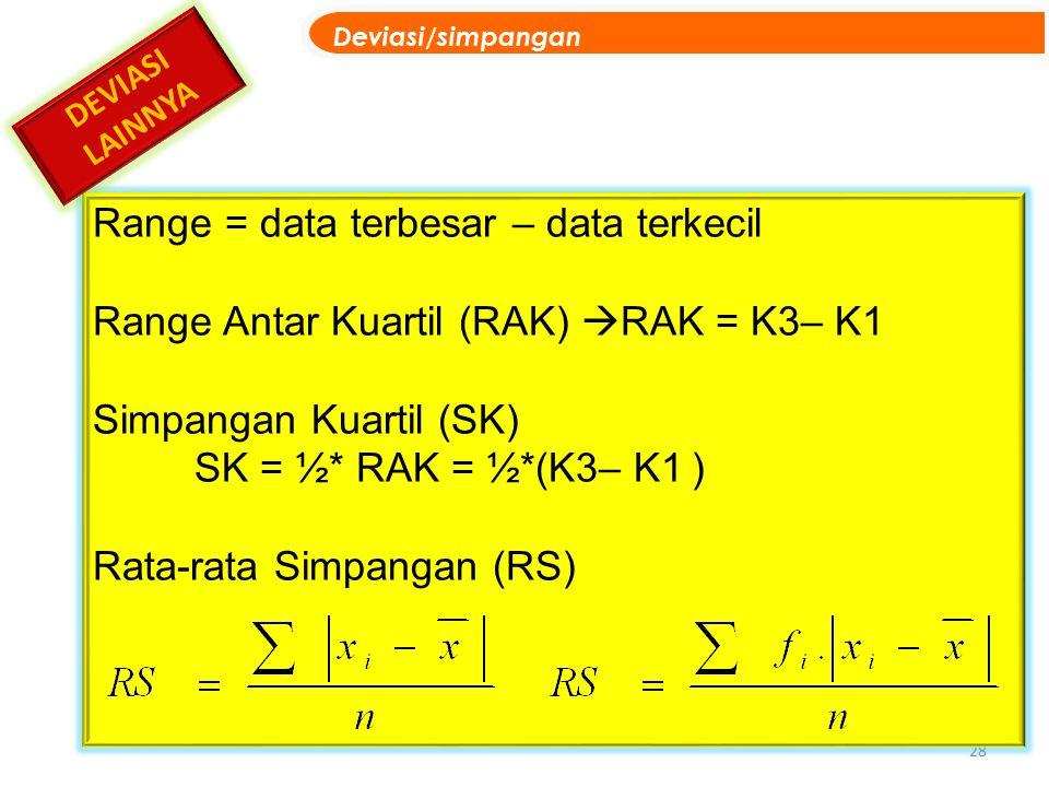 Range = data terbesar – data terkecil