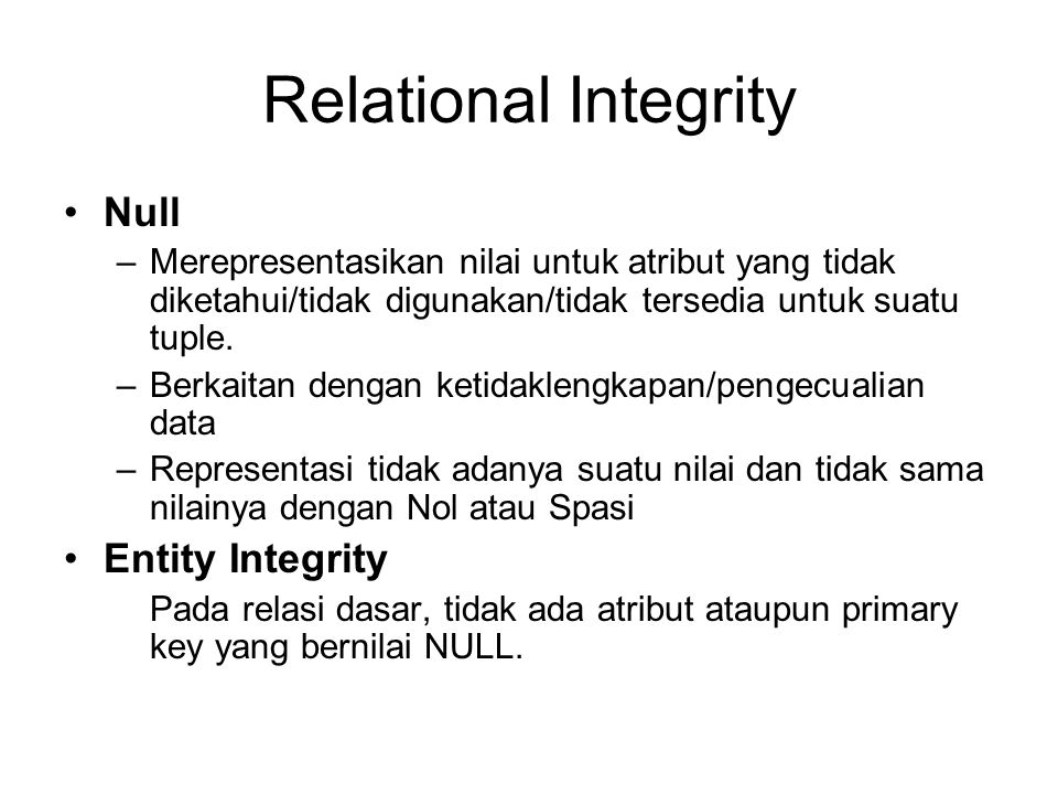 Relational Integrity Null Entity Integrity