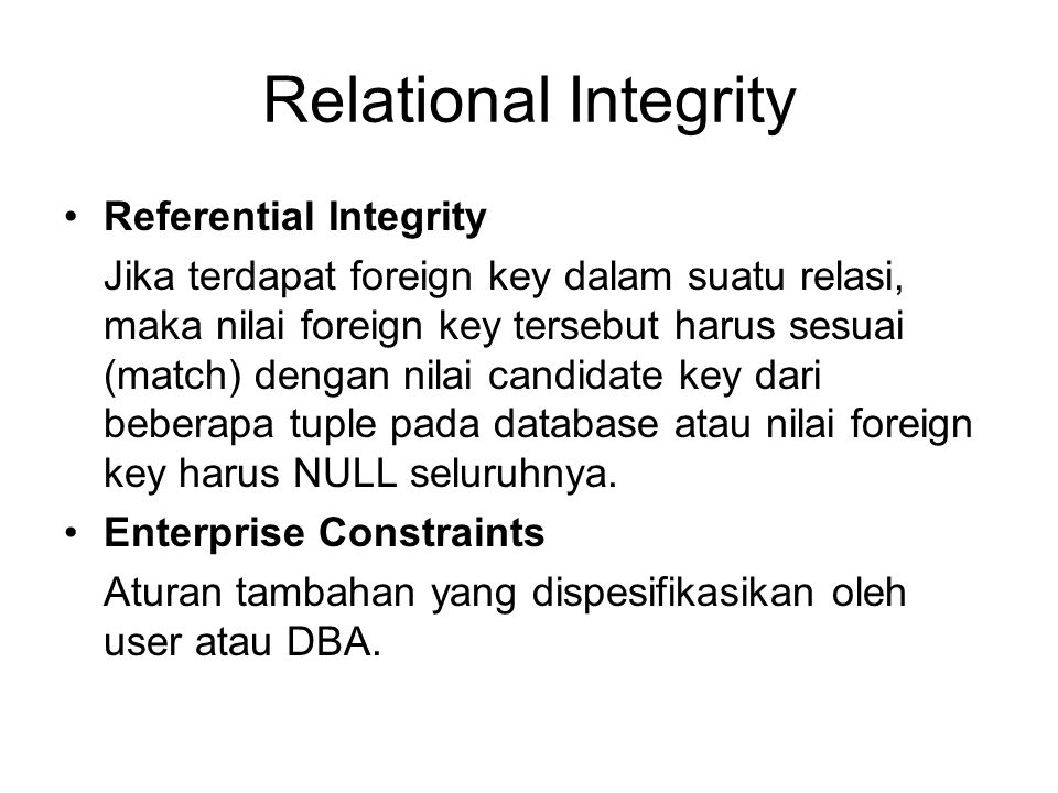 Relational Integrity Referential Integrity