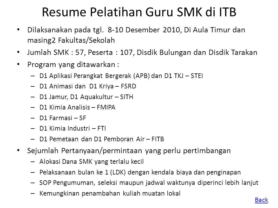 Resume Pelatihan Guru SMK di ITB