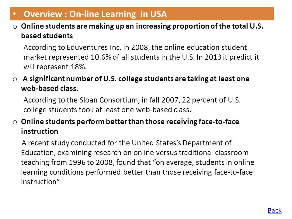 Overview : On-line Learning in USA