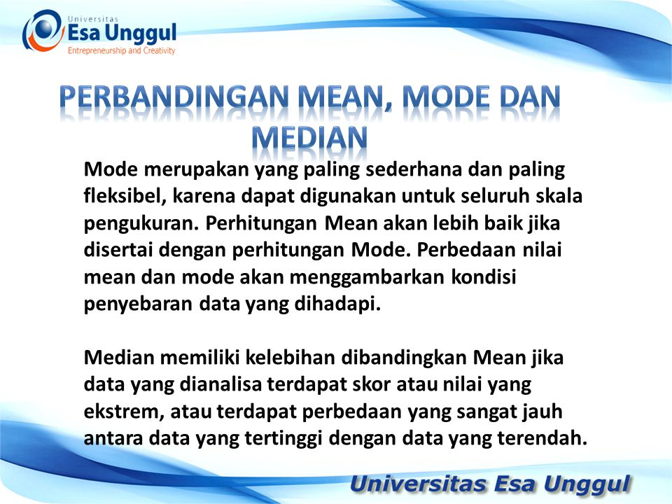 Perbandingan mean, mode dan median