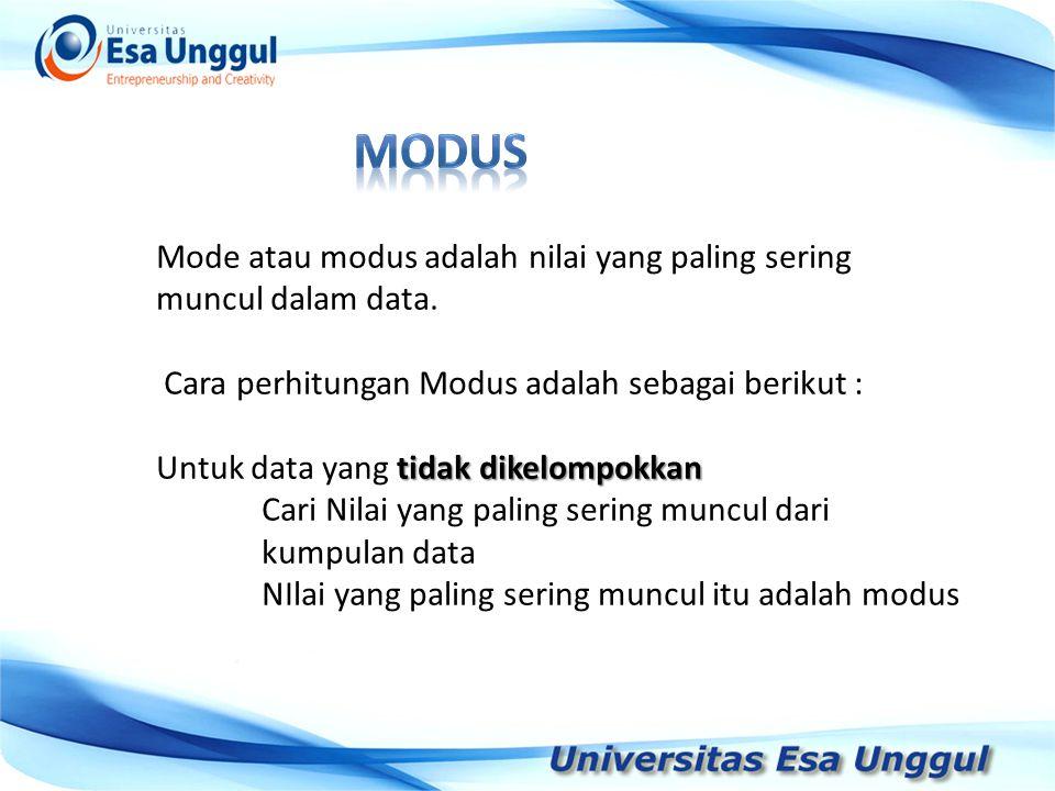 modus Mode atau modus adalah nilai yang paling sering muncul dalam data. Cara perhitungan Modus adalah sebagai berikut :
