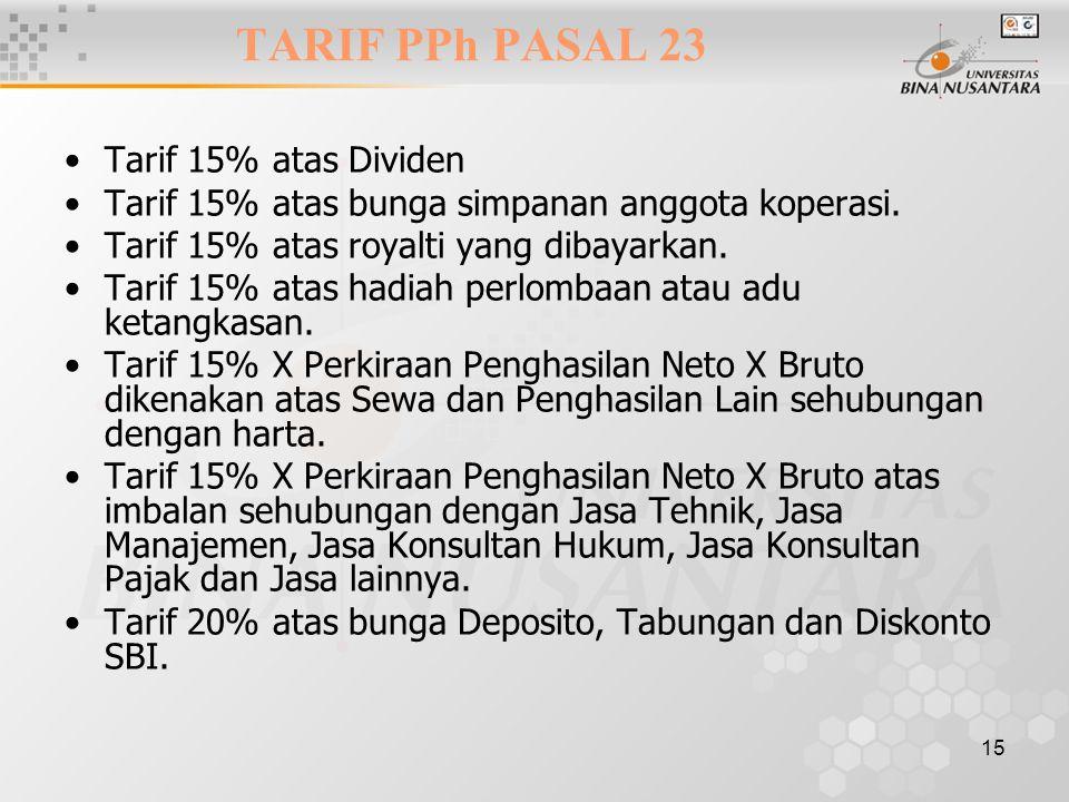 TARIF PPh PASAL 23 Tarif 15% atas Dividen