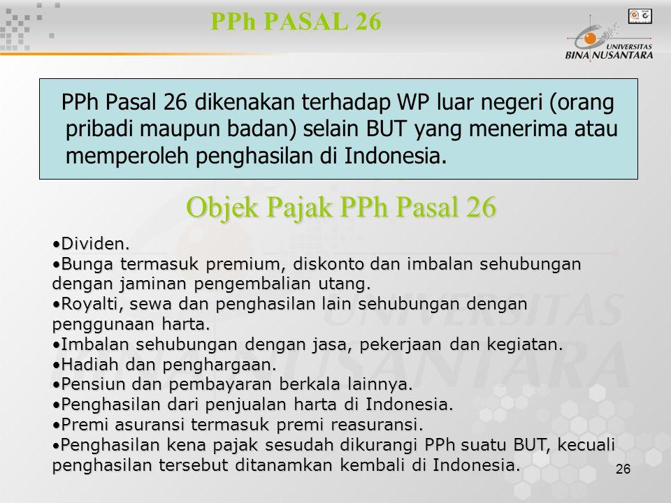 Objek Pajak PPh Pasal 26 PPh PASAL 26