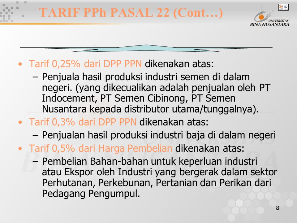 TARIF PPh PASAL 22 (Cont…)