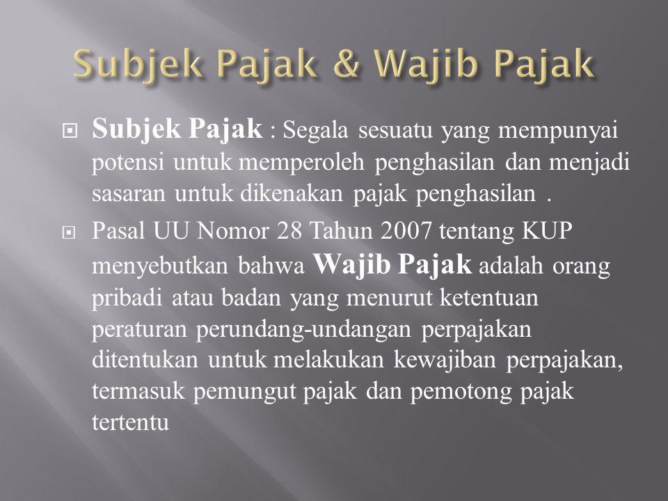 Subjek Pajak & Wajib Pajak