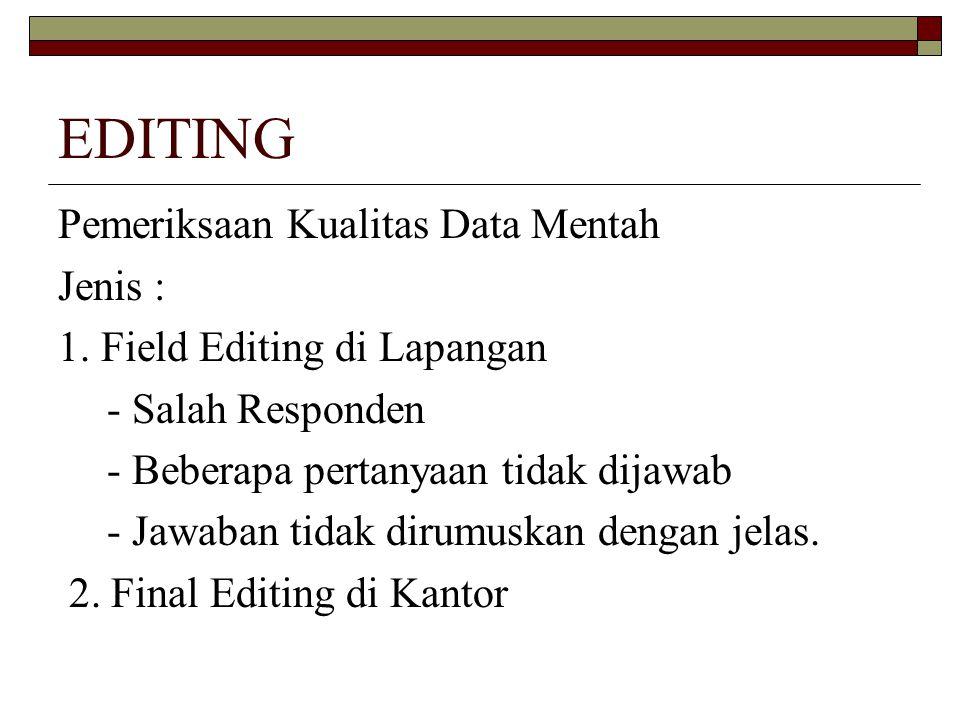EDITING Pemeriksaan Kualitas Data Mentah Jenis :