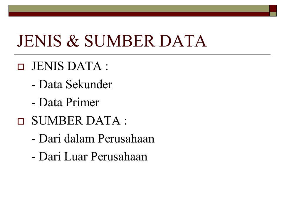 JENIS & SUMBER DATA JENIS DATA : - Data Sekunder - Data Primer