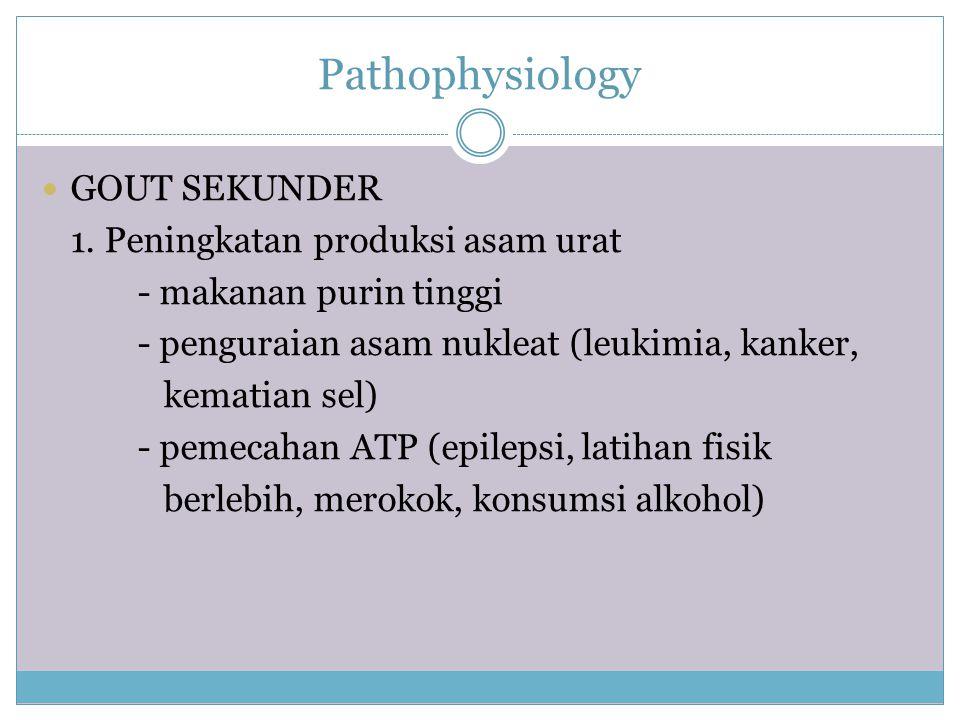 Pathophysiology GOUT SEKUNDER 1. Peningkatan produksi asam urat