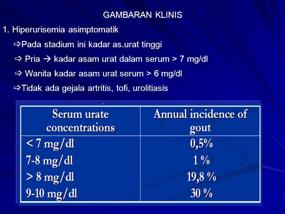 GAMBARAN KLINIS 1. Hiperurisemia asimptomatik. Pada stadium ini kadar as.urat tinggi.  Pria  kadar asam urat dalam serum > 7 mg/dl.