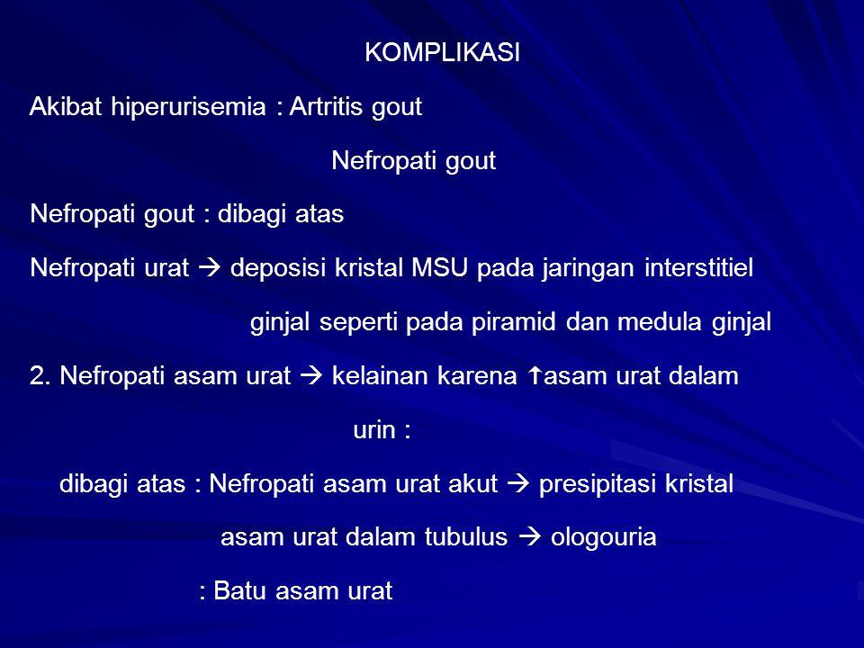 KOMPLIKASI Akibat hiperurisemia : Artritis gout. Nefropati gout. Nefropati gout : dibagi atas.