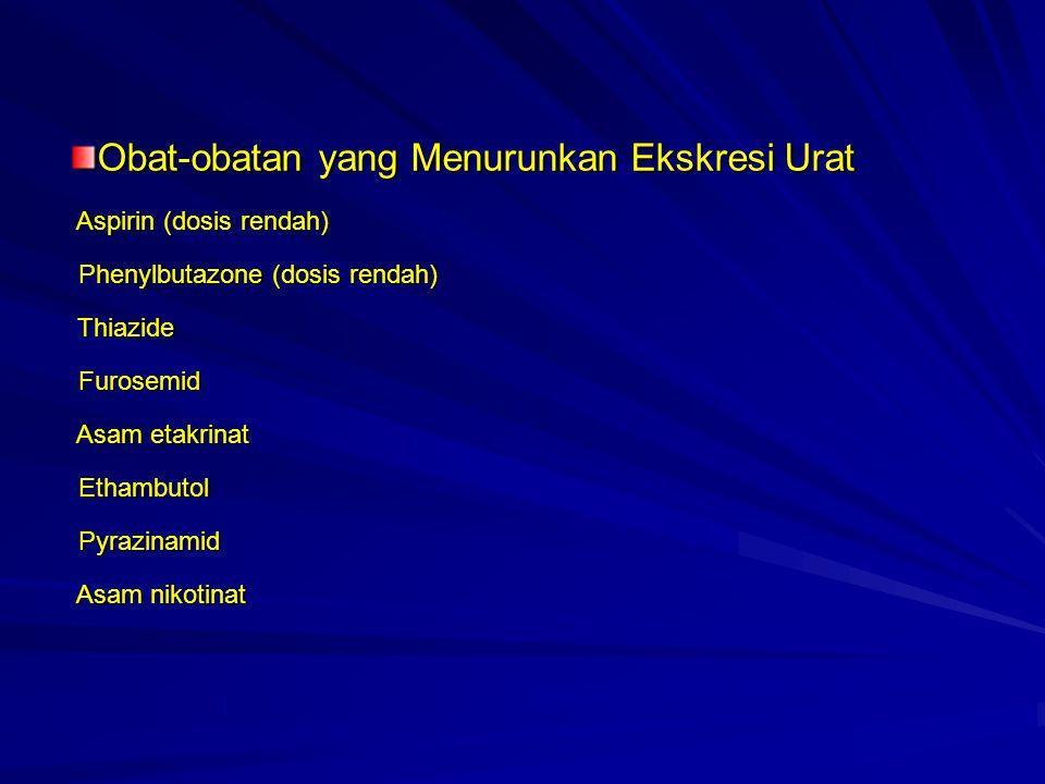 Obat-obatan yang Menurunkan Ekskresi Urat Aspirin (dosis rendah) Phenylbutazone (dosis rendah) Thiazide Furosemid Asam etakrinat Ethambutol Pyrazinamid Asam nikotinat