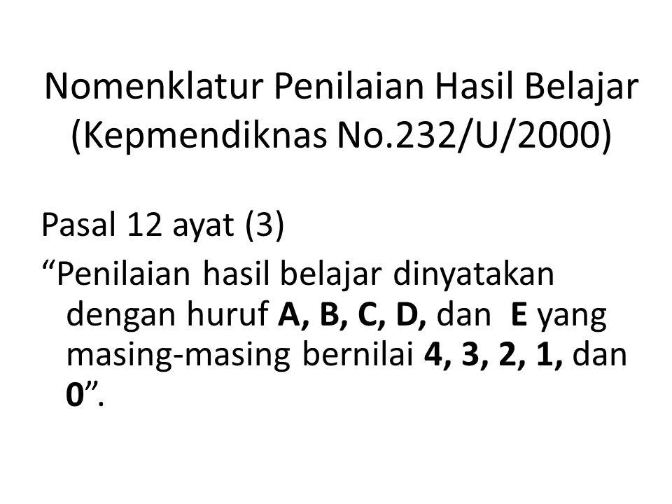 Nomenklatur Penilaian Hasil Belajar (Kepmendiknas No.232/U/2000)