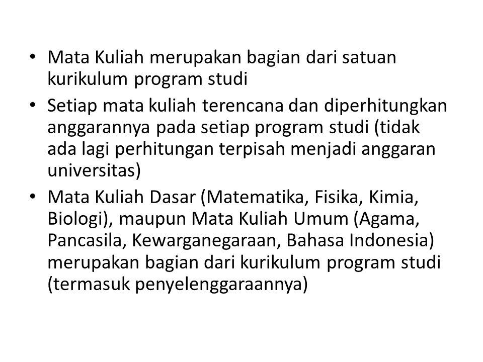 Mata Kuliah merupakan bagian dari satuan kurikulum program studi