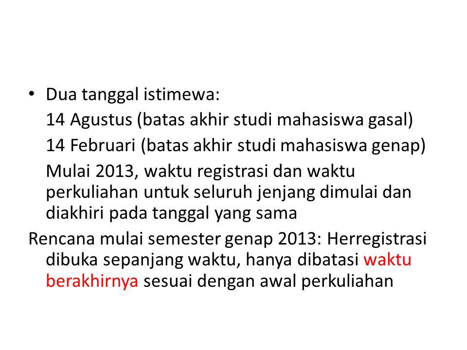 Dua tanggal istimewa: 14 Agustus (batas akhir studi mahasiswa gasal) 14 Februari (batas akhir studi mahasiswa genap)
