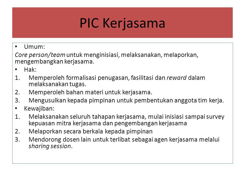 PIC Kerjasama Umum: Core person/team untuk menginisiasi, melaksanakan, melaporkan, mengembangkan kerjasama.