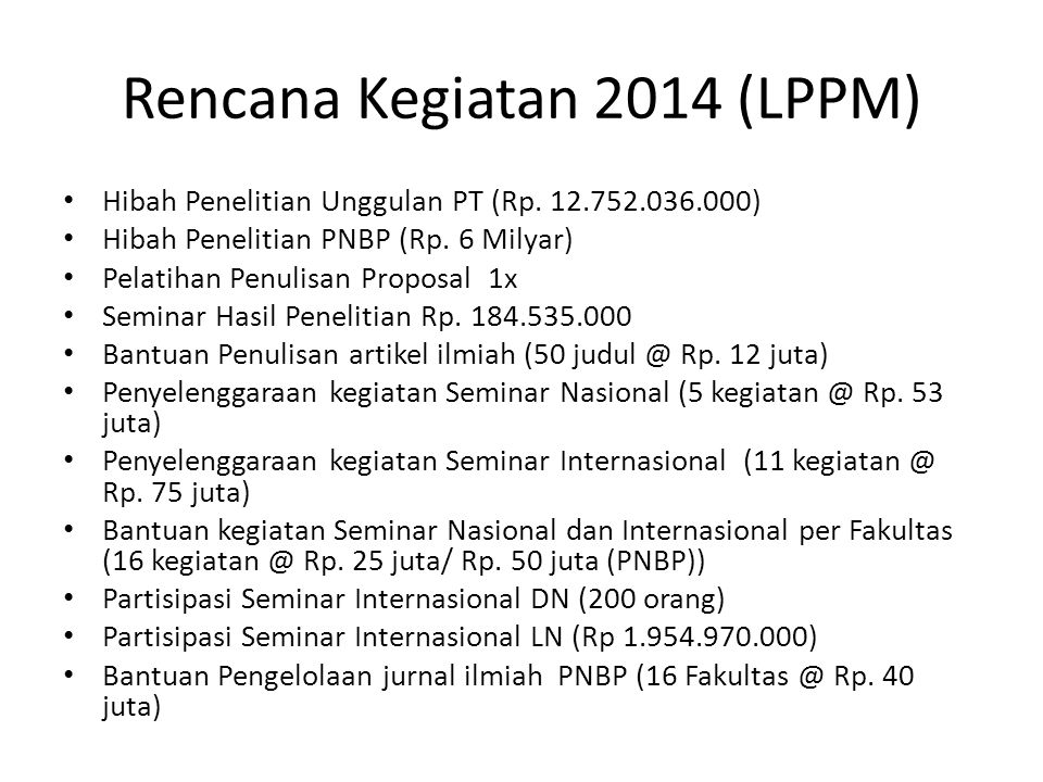 Rencana Kegiatan 2014 (LPPM)