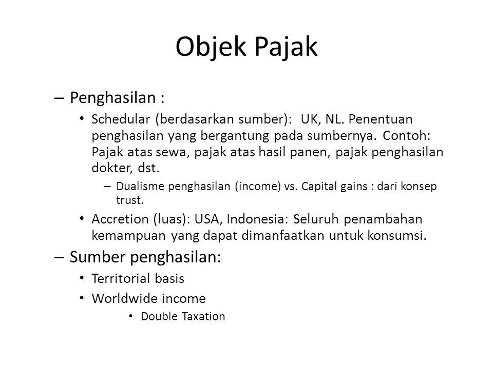 Objek Pajak Penghasilan : Sumber penghasilan: